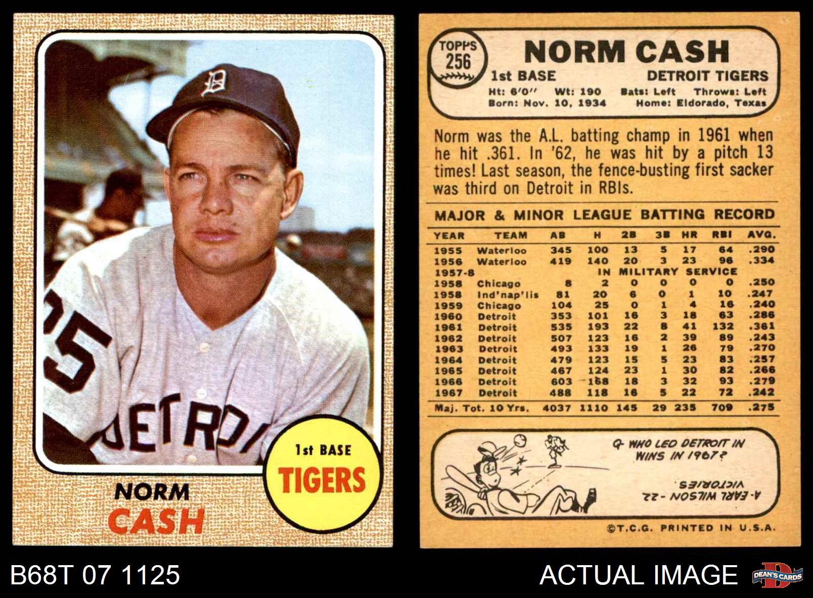 Baseball 1968 Topps 256 Norm Cash Detroit Tigers Baseball Card