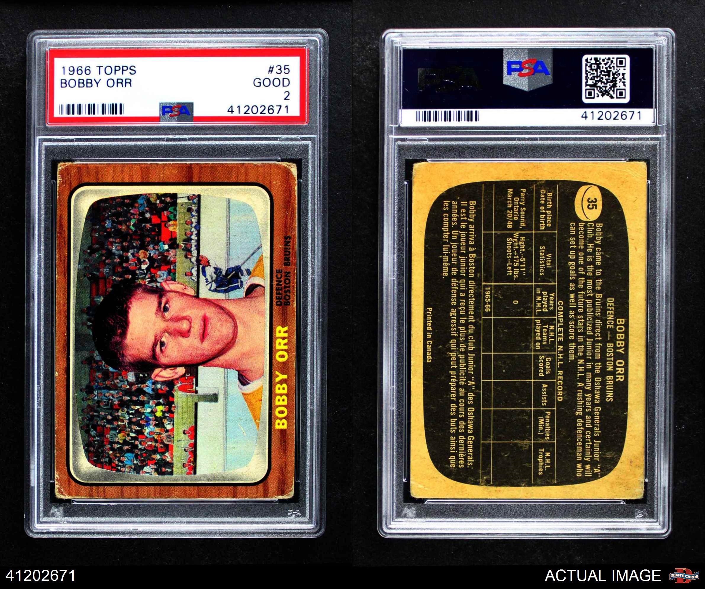 Bvg Bgs 10 1966 67 Topps 35 Bobby Orr Rookie Card