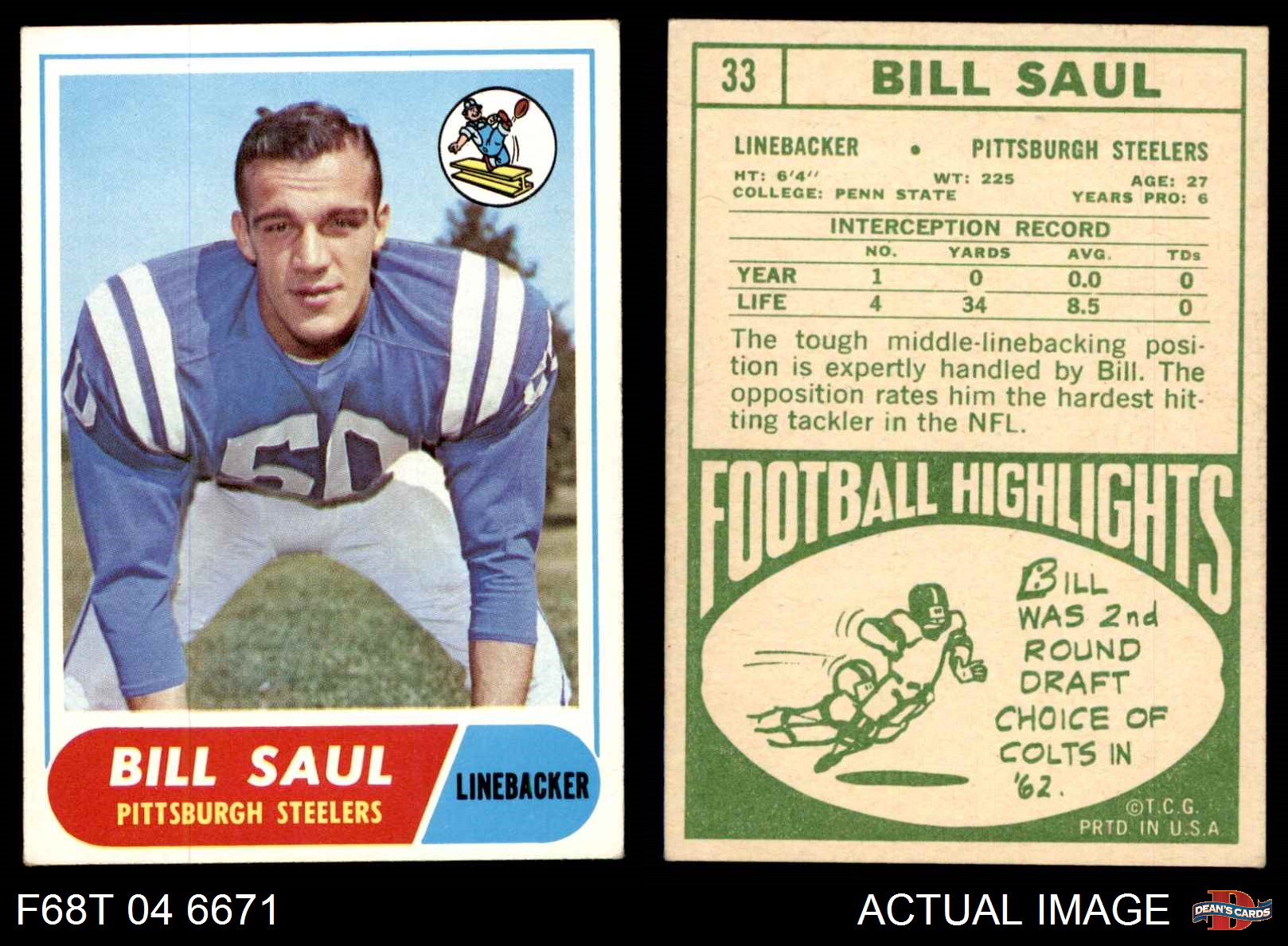 314b26d1a 1968-Topps-33-Bill-Saul-Steelers-VG-EX thumbnail