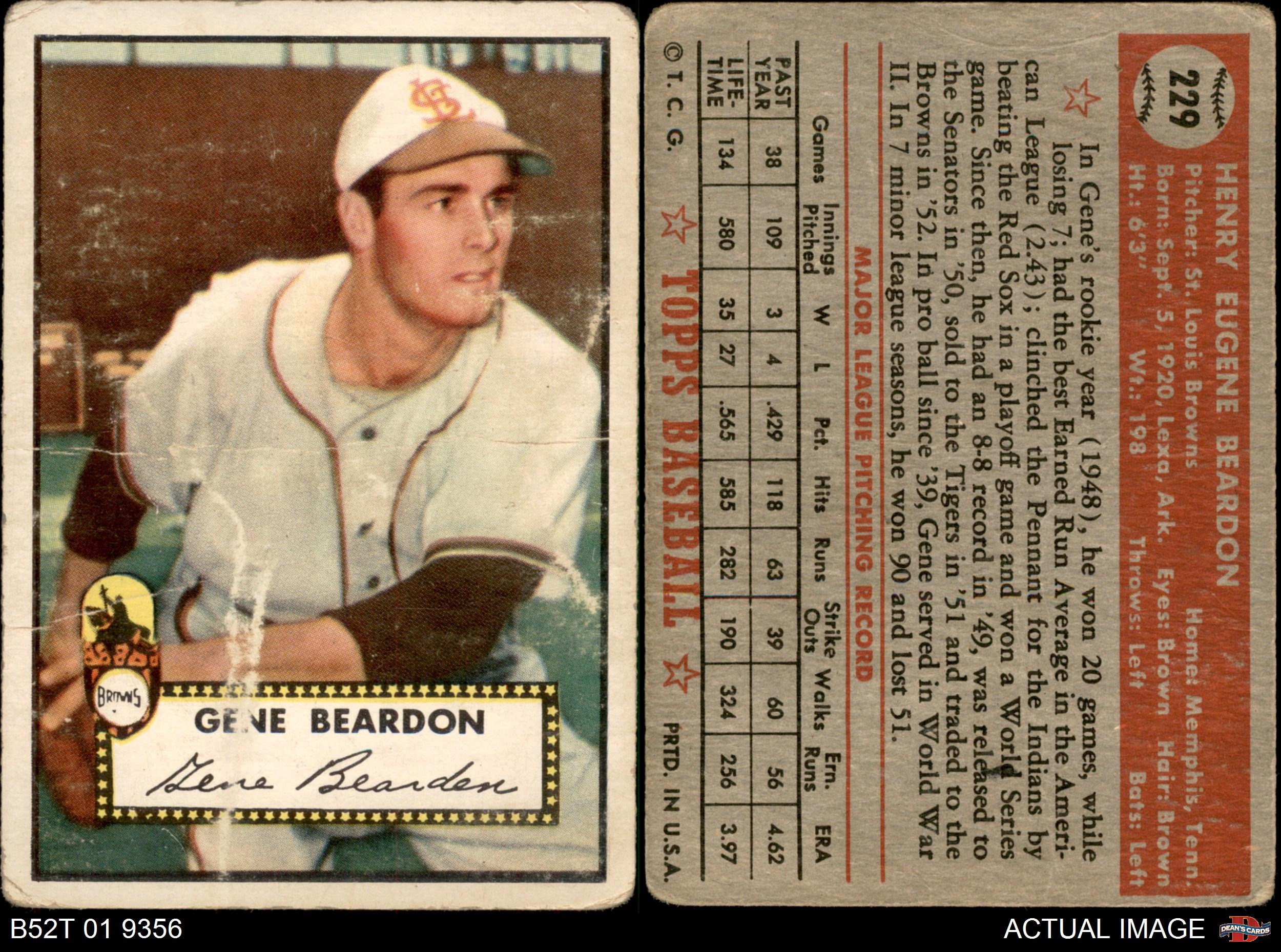 thumbnail 2 - 1952 Topps #229 Gene Bearden Browns 2 - GOOD