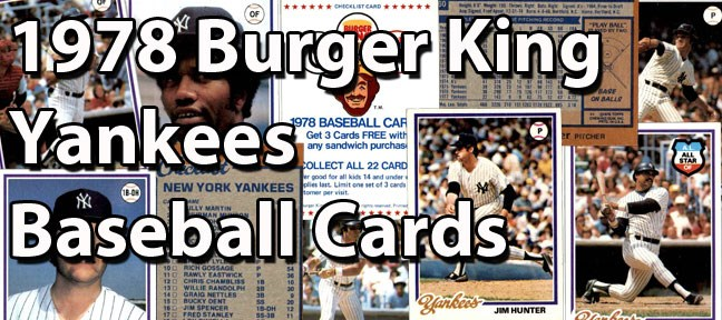 1978 Topps Burger King Yankees Baseball Cards