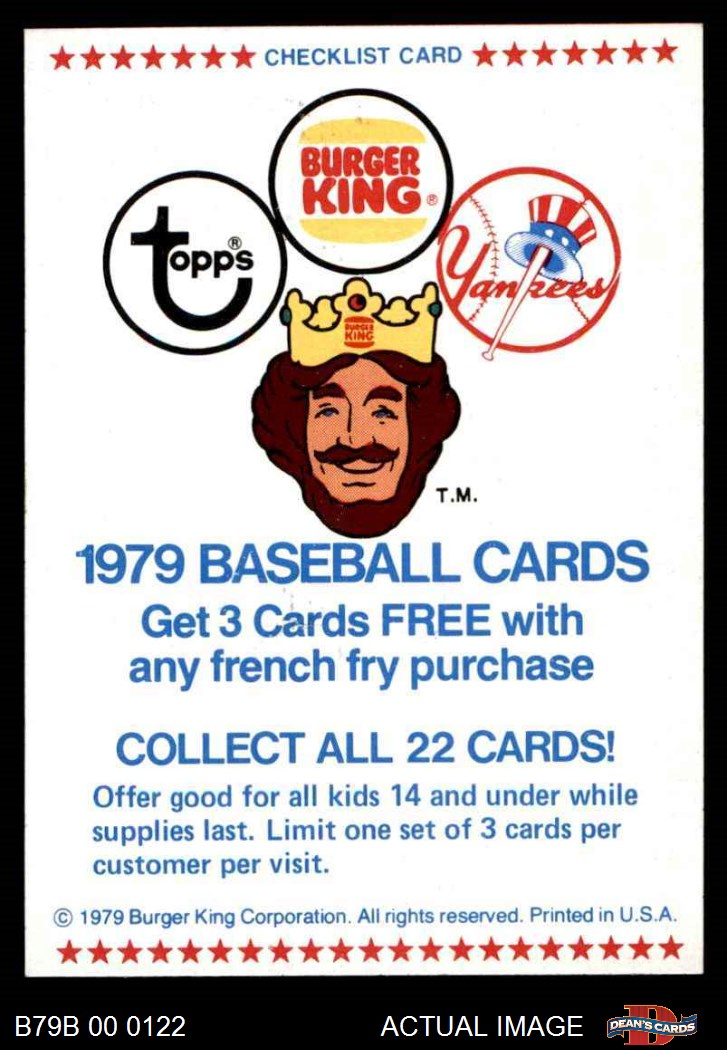 1979 Topps Burger King Yankees Team Set 75 Nm