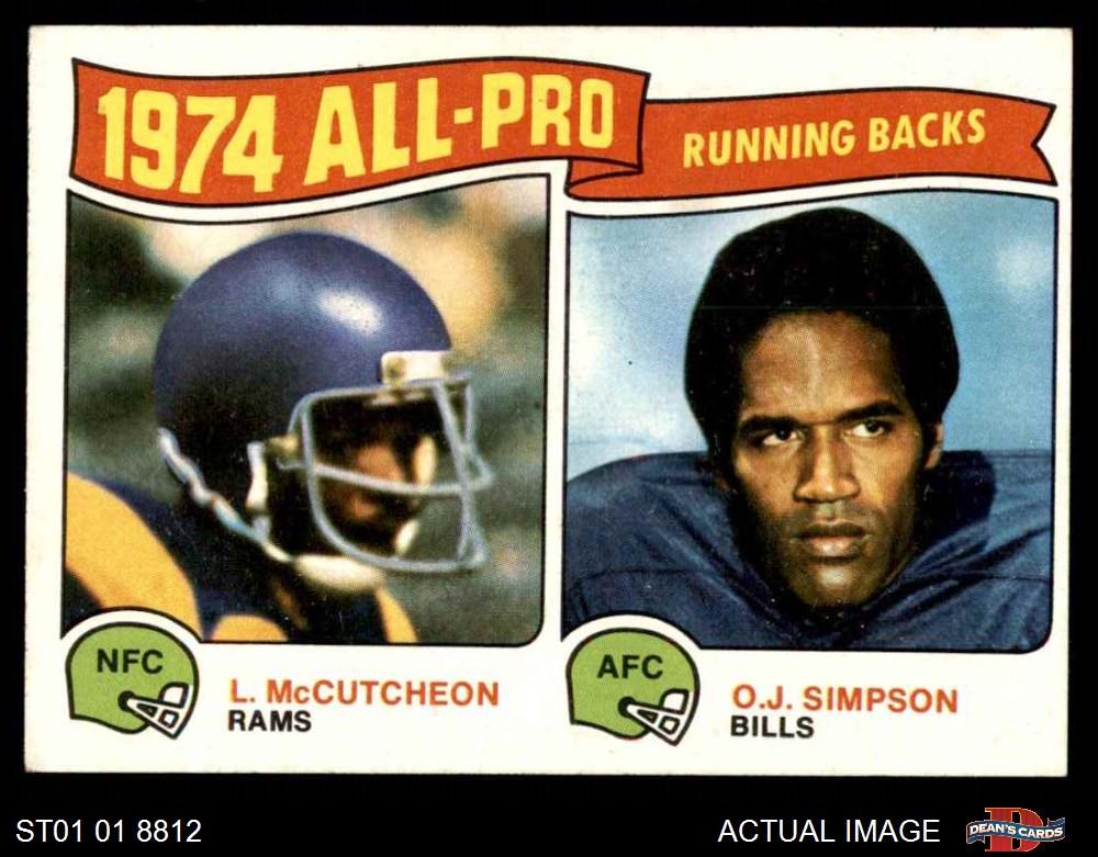 VG//EX Bills Simpson Buffalo Bills Deans Cards 4 Football Card 1974 Topps # 1 Record Breaker O.J