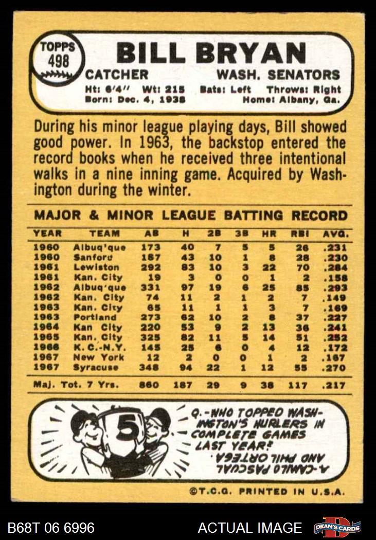 1968 Topps #498 Billy Bryan Washington Senators Baseball Card