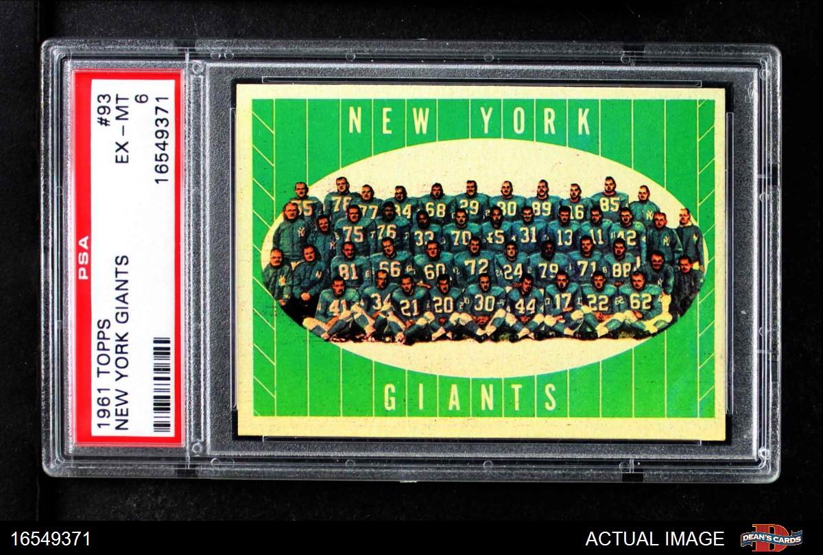 193a69fbc2366 1961 Topps New York Giants Team Set
