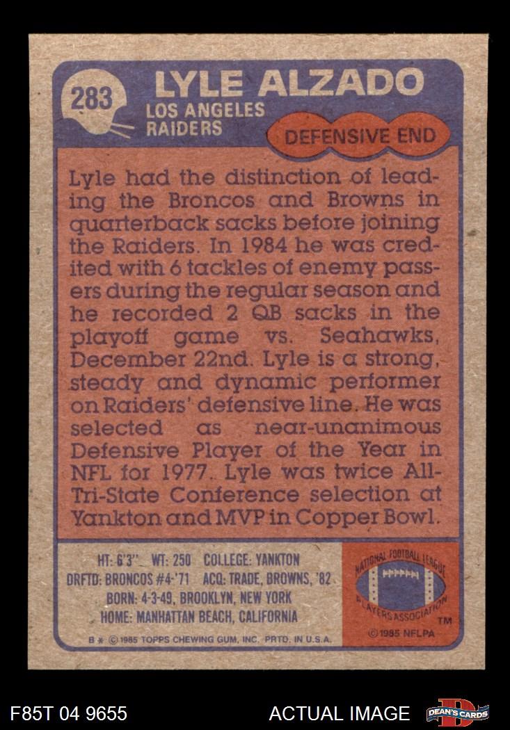 1985 Topps # 283 Lyle Alzado Los Angeles Raiders Football Card