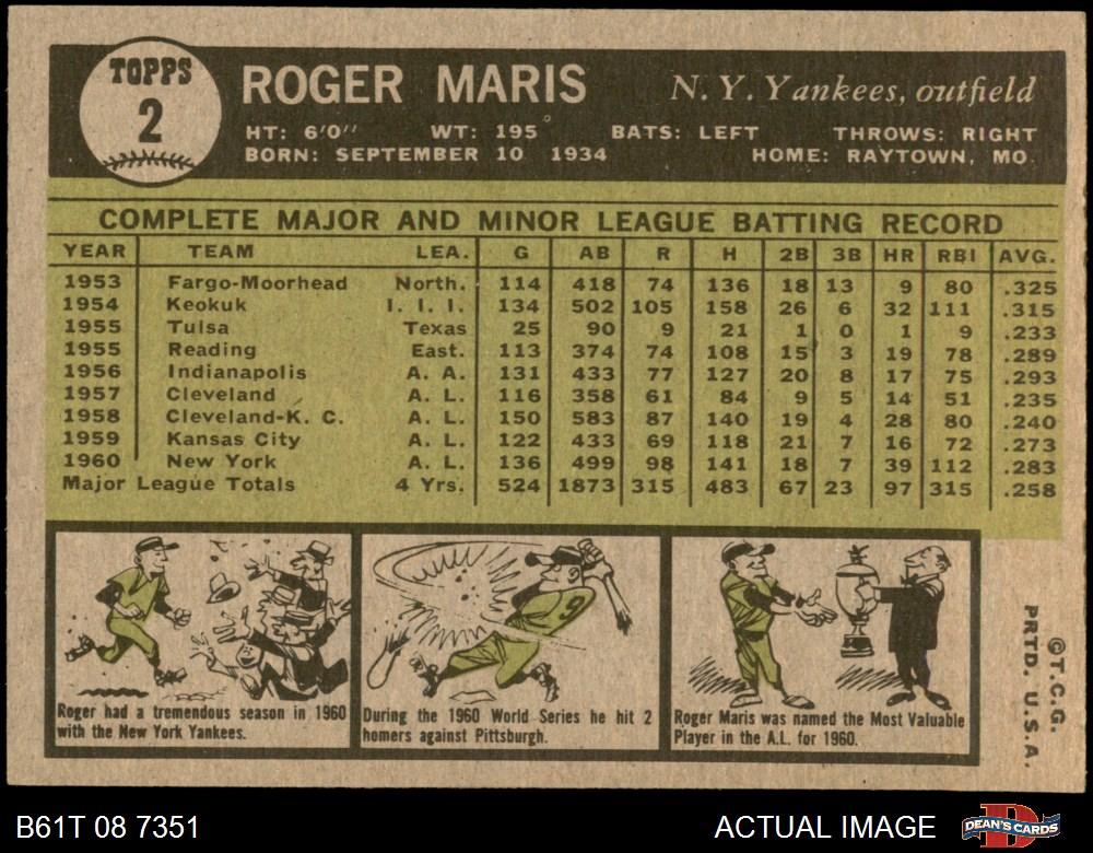 Deans Cards 4 Baseball Card VG//EX Yankees 1961 Topps # 213 Bill Stafford New York Yankees