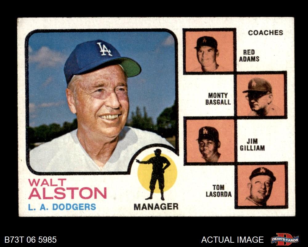 1973 Topps #569 Walt Alston Red Adams Monty Basgall Jim Gilliam Tom Lasorda RC