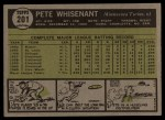 1961 Topps #201  Pete Whisenant  Back Thumbnail