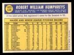 1970 Topps #538  Bob Humphreys  Back Thumbnail
