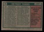 1975 Topps #18   -  Ralph Houk Tigers Team Checklist Back Thumbnail