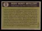 1961 Topps #25   -  Frank Robinson / Vada Pinson / Gus Bell Reds Heavy Artillery Back Thumbnail