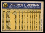 1970 Topps #329  Chris Cannizzaro  Back Thumbnail