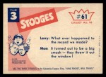 1959 Fleer Three Stooges #61   We Never Took Lesson in Our  Back Thumbnail