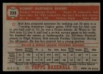 1952 Topps #233  Bob Friend  Back Thumbnail