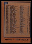 1978 Topps #328   Brewers Team Checklist Back Thumbnail