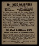 1948 Leaf #50  Dick Wakefield  Back Thumbnail