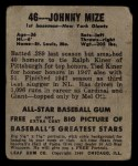 1948 Leaf #46  Johnny Mize  Back Thumbnail