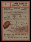 1962 Topps #51  Dan Lewis  Back Thumbnail