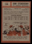 1962 Topps #139  Sam Etcheverry  Back Thumbnail