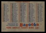 1957 Topps BAZ  Bazooka Checklist - Series 2 & 3 Back Thumbnail