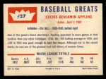 1960 Fleer #27  Luke Appling  Back Thumbnail