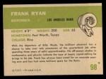 1961 Fleer #98  Frank Ryan  Back Thumbnail