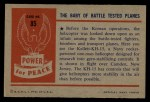 1954 Bowman Power for Peace #85   The Baby of Battle Tested Planes Back Thumbnail