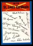 1973 Topps Blue Checklist   Cardinals Front Thumbnail