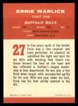 1963 Fleer #27  Ernie Warlick  Back Thumbnail