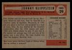 1954 Bowman #29  Johnny Klippstein  Back Thumbnail