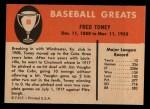 1961 Fleer #80  Fred Toney  Back Thumbnail