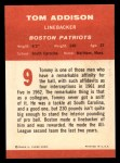 1963 Fleer #9   Tommy Addison  Back Thumbnail