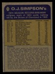 1974 Topps #1   -  O.J. Simpson  Record Breaker Back Thumbnail