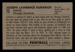 1952 Bowman Small #75  Joe Kuharich  Back Thumbnail