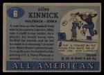 1955 Topps #6  Nile Kinnick  Back Thumbnail