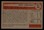 1954 Bowman #53 ALL Don Lenhardt  Back Thumbnail