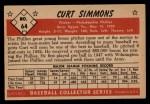 1953 Bowman #64  Curt Simmons  Back Thumbnail
