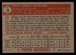 1952 Topps #13  John Wyrostek  Back Thumbnail
