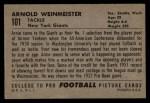 1952 Bowman Large #101  Arnold Weinmeister  Back Thumbnail