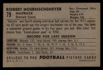 1952 Bowman Large #79  Bob Hoernschemeyer  Back Thumbnail