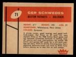 1960 Fleer #71  Gerhard Schwedes  Back Thumbnail