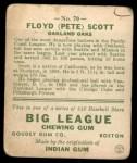 1933 Goudey #70  Floyd Scott  Back Thumbnail