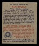 1949 Bowman #78 NAM Sam Zoldak  Back Thumbnail