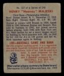 1949 Bowman #127 PRT Hank Majeski  Back Thumbnail
