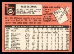 1969 Topps #486 YN Paul Casanova  Back Thumbnail