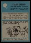 1964 Philadelphia #117  Frank Gifford   Back Thumbnail