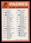 1973 Topps Blue Checklist   Padres Back Thumbnail