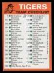1973 Topps Blue Checklist   Tigers Back Thumbnail