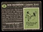 1969 Topps #27  Bob Matheson  Back Thumbnail